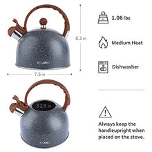 Load image into Gallery viewer, Tea Kettle, 2.3 Quart Tea Pot BELANKO Whistling Water Kettle, Food Grade Stainless Steel Teapot for Stovetops Gas Electric Induction with Wood Pattern Handle Loud Whistle - Gray