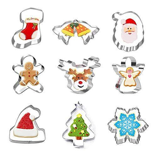 9 Pcs Christmas Cookie Cutters, Holiday Cookie Cutters Including Snowflake, Snowman, Gingerbread, Christmas Tree, Gingerbread Cookie Cutter and More - PHUNUZ