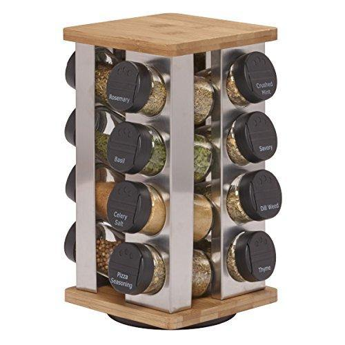 Kamenstein Warner 16-Jar Revolving Countertop Spice Rack Organizer with Free Spice Refills for 5 Years - PHUNUZ