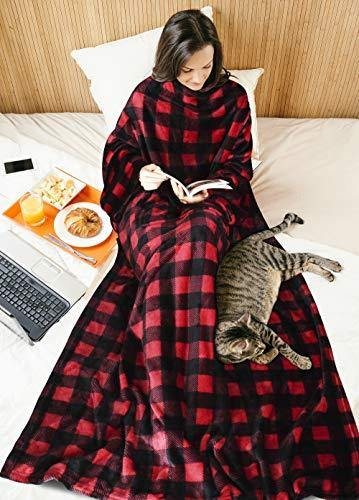 Red Plaid Fleece Wearable Blanket with Sleeves for Women Men, Super Soft Warm Cozy Micro Plush Functional Lightweight TV Wrap Checkered Throw Blanket with Pocket for Lounge Couch Office - PHUNUZ