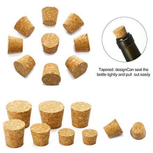 Load image into Gallery viewer, 100 Pack Tapered Cork Plugs Wooden Wine Bottle Cork Stoppers Replacement Corks for Wine Beer Bottle, 10 Sizes