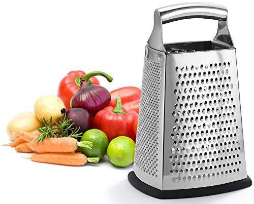 Professional Box Grater, 100% Stainless Steel with 4 Sides, Best for Parmesan Cheese, Vegetables, Ginger, XL Size - PHUNUZ
