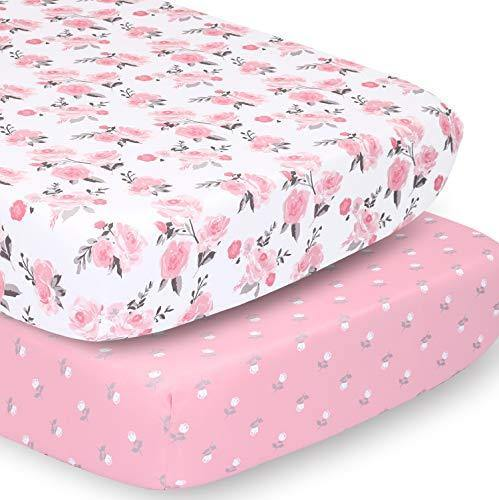 The Peanutshell Crib Sheet Set for Baby Girls | Pink Roses & Ditsy Floral | 2 Pack Set - PHUNUZ