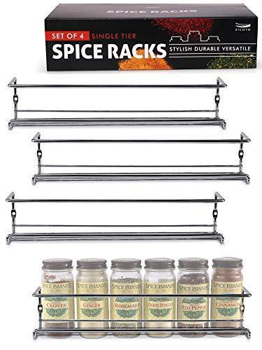 Premium Spice Rack Organizer for Cabinets or Wall Mounts - Space Saving Set of 4 Hanging Racks - Perfect Seasoning Organizer For Your Kitchen Cabinet, Cupboard or Pantry Door - PHUNUZ