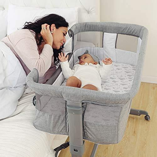 TCBunny 2-in-1 Baby Bassinet & Bedside Sleeper, Adjustable Portable Crib Bed for Infant/Newborn Baby, Grey - PHUNUZ