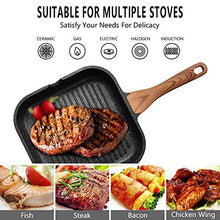 Load image into Gallery viewer, ESLITE LIFE Nonstick Grill Pan for Stove Tops with Pour Spouts Induction Compatible, Granite Stone Coating, 9.5 inch