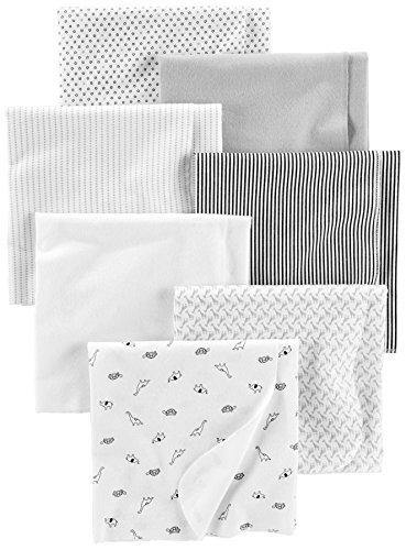 Simple Joys by Carter's Baby Unisex 7-Pack Flannel Receiving Blankets, Gray/White/Black, One Size - PHUNUZ