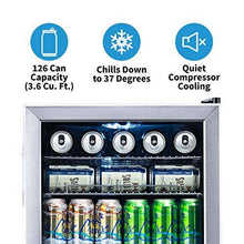 Load image into Gallery viewer, NewAir Beverage Refrigerator Cooler with 126 Can Capacity - Mini Bar Beer Fridge with Right Hinge Glass Door - Cools to 34F - AB-1200 - Stainless Steel - PHUNUZ