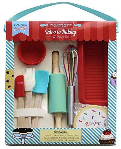 Handstand Kitchen 17-piece Introduction to Real Baking Set with Recipes for Kids - PHUNUZ