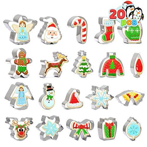 Christmas Cookie Cutter Set 20 PCS Santa Claus Snowman Gingerbread Man Reindeer Candy Cane Snowflake Christmas Tree Biscuit Fondant Cutters Stainless Steel for Holiday Xmas Party Baking Gift - PHUNUZ