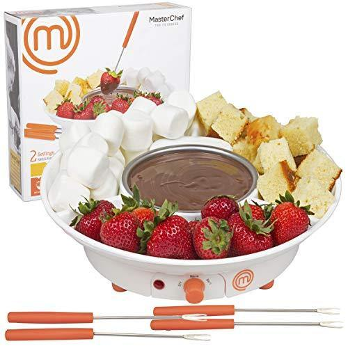 MasterChef Chocolate Fondue Maker- Deluxe Electric Dessert Fountain Fondue Pot Set with 4 Forks & Party Serving Tray - PHUNUZ
