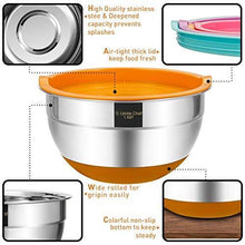Load image into Gallery viewer, Mixing Bowls with Airtight Lids, 6 piece Stainless Steel Metal Bowls by Umite Chef, Colorful Non-Slip Bottoms Size 7, 3.5, 2.5, 2.0,1.5, 1QT, Great for Mixing & Serving - PHUNUZ