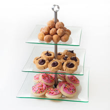 Load image into Gallery viewer, Chef Buddy 3-Tier Square Glass Buffet and Dessert Stand