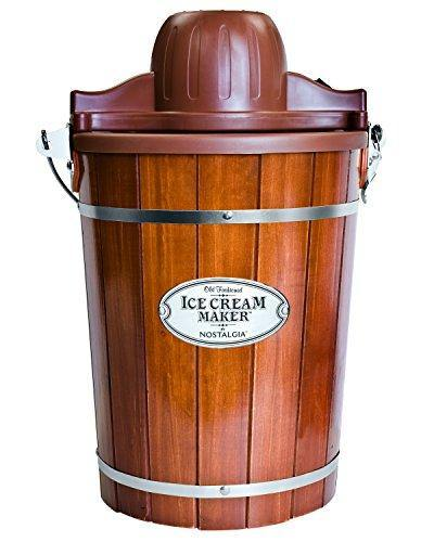Nostalgia Electric Bucket Ice Cream Maker With Easy-Carry Handle, Makes 6-Quarts in Minutes, Frozen Yogurt, Gelato, Made From Real Wood, Brown - PHUNUZ