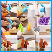 Load image into Gallery viewer, Boao 36 Pieces Tea Bag Holders Silicone Cute Tea Bag Hanger Colorful Tea Bag Clip Animal Shaped Tea Bag Holders for Cup and Mug Markers Snail Squirrel Shark Shapes