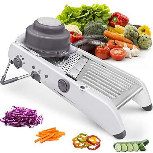 Mandoline Slicer Stainless Steel Vegetable Julienner Built-in Adjustable Safe Blades Cutter Chopper and Grater for Kitchen, Professional Mandalin Food Slicer Potato Slicer Veggie Onion Tomato Fruit - PHUNUZ