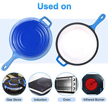 Load image into Gallery viewer, Suteck Enameled Cast Iron 2-In-1 Skillet Set, Heavy Duty 3.2 Quart Enamel Cookware Pot and Lid Set, Deep Saucepan and Shallow Skillet Dutch Oven Nonstick Frying Pan for Chef Kitchen (Blue)