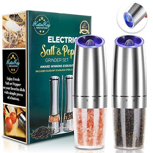 JOBKIM Gravity Electric Pepper Grinder set of 2, Automatic Salt and Pepper Mill Grinder, Battery Powered, Adjustable Roughness, Blue LED Light, Stainless Steel with One Hand Operation - PHUNUZ