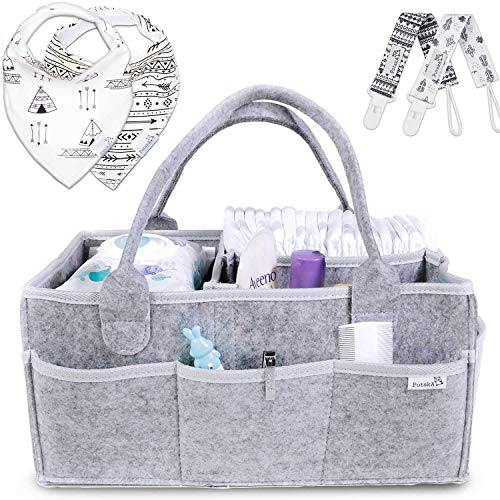 Putska Baby Diaper Caddy Organizer: Portable Holder Bag for Changing Table and Car, Nursery Essentials Storage bins gifts with 2 Pacifier Clips, 2 Bibs - PHUNUZ