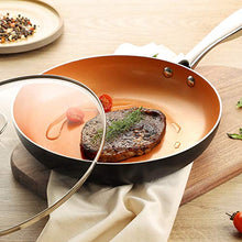 Load image into Gallery viewer, MICHELANGELO Frying Pan with Lid, Nonstick 8 Inch Frying Pan with Ceramic Titanium Coating, Copper Frying Pan with Lid, Small Frying Pan 8 Inch, Nonstick Frying Pans, Small Copper Skillet - 8 Inch
