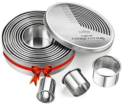 Round Cookie Biscuit Cutter Set, 12 Graduated Circle Pastry Cutters, Heavy Duty Commercial Grade 18/8 304 Stainless Steel Cookie And Dough Cutters - PHUNUZ