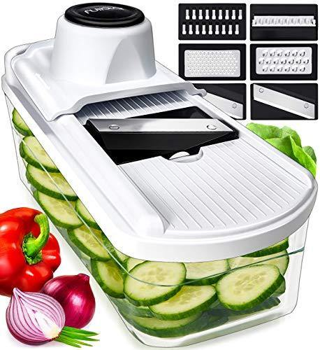 Fullstar Mandoline Slicer Vegetable Slicer and Vegetable Grater - Potato Slicer Food Slicer Veggie Slicers Mandoline Slicer Cutter Grater - Veggie Slicer Onion Slicer Fruit Slicers for Fruits - PHUNUZ