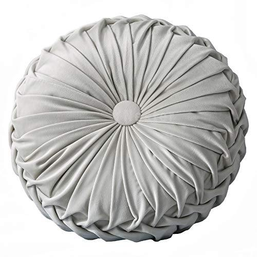 YNester Round Cushions Pillows, Solid Color Velvet Chair Sofa Pumpkin Throw Pillow Pleated Round Pillow for Home Bed Car Decor Floor Pillow Cushion (Light Gray) - PHUNUZ