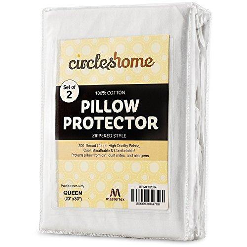 CIRCLESHOME Zippered Pillow Protectors 100% Cotton, Breathable & Quiet (2 Pack) White Pillow Covers Protects from Dirt, Dust Mites & Allergens (Queen - Set of 2-20x30) - PHUNUZ