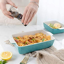 Load image into Gallery viewer, Bakeware Set, Krokori Rectangular Baking Pan Ceramic Glaze Baking Dish for Cooking, Kitchen, Cake Dinner, Banquet and Daily Use, 3 PCS, 11.6 x 7.8 Inches of Aquamarine - PHUNUZ