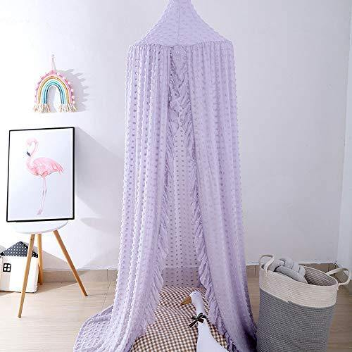 Kids Bed Canopy Mosquito Net Princess Canopy for Girl Baby Bed, Round Dome Hanging Yarn Play Tent Bedding Unique Lace Netting Curtain Reading Nook Nursery Bedroom Indoor Game House Decor Purple - PHUNUZ