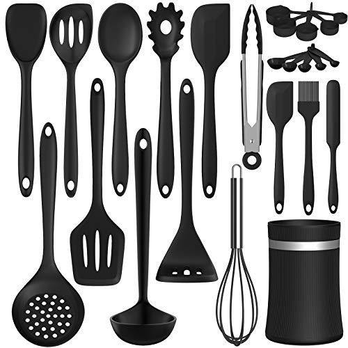 Silicone Cooking Utensil Kitchen Utensil Set, 24 Pcs Non-stick Cooking Utensils Spatula Set with Holder by AIKKIL, Heat Resistant Kitchen Gadgets Tools Set for Cookware(Black) - PHUNUZ