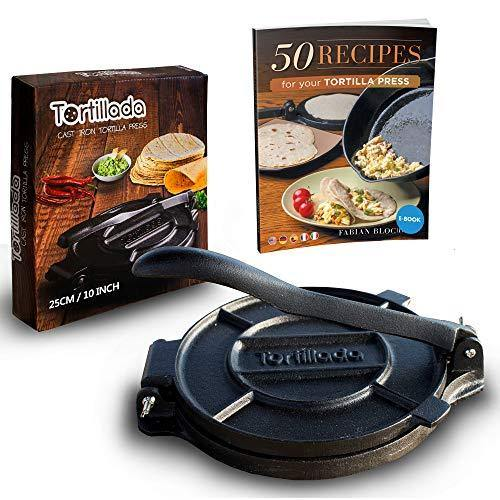 Tortillada – Premium Cast Iron Tortilla Press with Recipes E-Book (10 Inch) - PHUNUZ