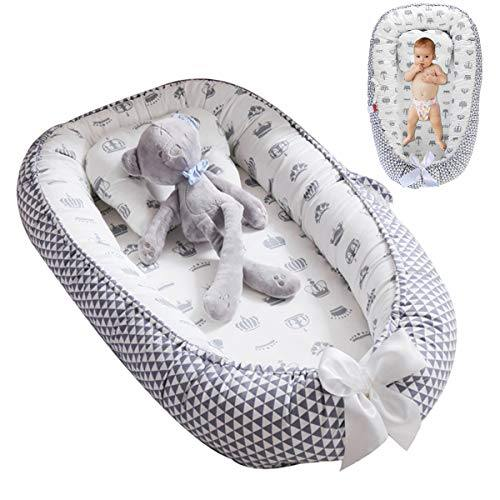 Oenbopo Baby Lounger Cotton Breathable Baby Bassinet Portable Sleeping Baby Bed for Cuddling, Lounging, Co Sleeping, Napping and Travel (Grey-1) - PHUNUZ