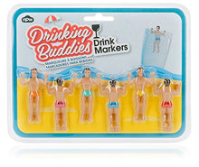 Load image into Gallery viewer, Drinking Buddies Classic Themed Reuseable Glass Drink Markers, 6