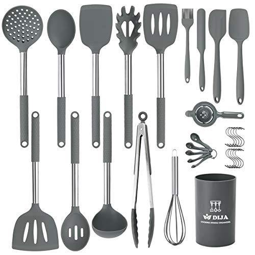 Silicone Cooking Utensils Set, Kitchen Utensils 31pcs Cooking Utensils Set, Heat Resistant Non-stick Silicone Kitchen Spatula Set with Stainless Steel Handle - Gray (BPA Free, Non Toxic) - PHUNUZ