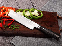 Load image into Gallery viewer, Hecef Upgraded Culinary Nakiri Knife, High Carbon Stainless Steel Hammered Finished Blade with Pakkawood Handle, Japanese Cooking Knife, 7 inch