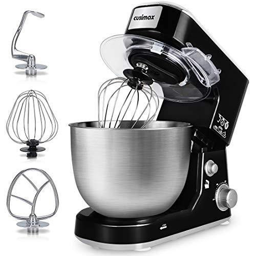 Stand Mixer, Cusimax Dough Mixer Tilt-Head Electric Mixer with 5-Quart Stainless Steel Bowl, Dough Hook, Mixing Beater and Whisk, Splash Guard, CMKM-150, Black - PHUNUZ