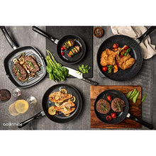 "Load image into Gallery viewer, GOURMEX Toughpan Induction Grill Pan, Black, Nonstick Coating - Great Skillet for Meat, Fish and Vegetables - Perfect for All Heat Sources 11"" Grill Pan"