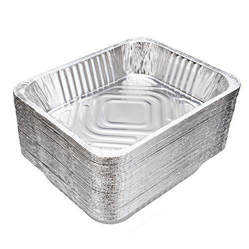 9x13 Aluminum Pans Disposable (30-Pack) - HEAVY DUTY - Half-Size Deep Foil Pans. Great for Baking, Cooking, Grilling, Serving & Lining Steam-Table Trays/Chafers - PHUNUZ