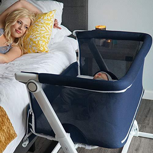 Convertible Bedside Baby Bassinet for Safe Sleep - Venice Child Co Sleeper for Newborn and Infants Compact Portable Travel Crib and Bed - Sunset Dreaming Navy Blue - PHUNUZ