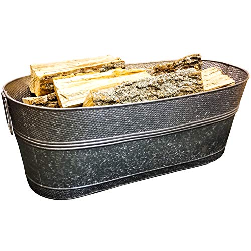 BREKX Massive 80-Quart Hammered Galvanized Firewood Container, Beverage Tub, and Garden Planter Tub