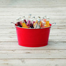 Load image into Gallery viewer, Twine Big Red Galvanized metal tub drink bucket, country home patio party decor and supplies, beverage holder, 4.5 gallon