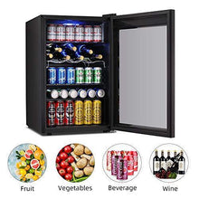 Load image into Gallery viewer, Kismile 4.5 Cu.ft Beverage Refrigerator and Cooler,126 Can Mini Fridge Glass Door with Digital Temperature Display for Soda,Beer or Wine,small Drink Dispenser Cooler for Home,Office or Bar (Black) - PHUNUZ