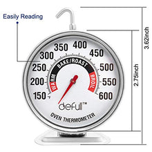 Load image into Gallery viewer, Extra Large Dial Oven Thermometer Clear Large Number Easy-to-Read Oven Thermometer with Hook and Panel Base Hang or Stand in Oven