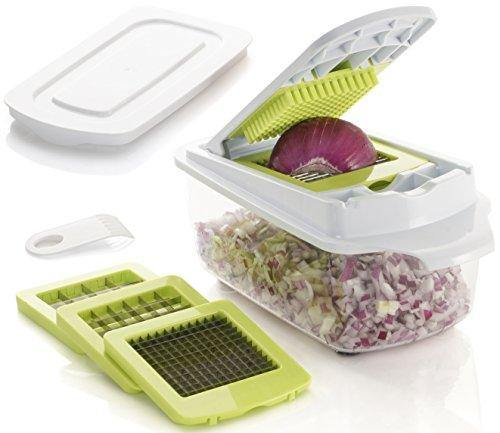 Brieftons QuickPush Food Chopper: Strongest & 200% More Container Capacity, 30% Heavier Duty, Onion Chopper, Kitchen Vegetable Dicer, Fruit and Cheese Cutter, with 3 Dicing Blades & Keep-Fresh Lid - PHUNUZ