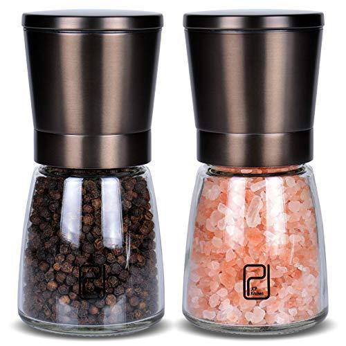 Premium Black Stainless Steel Salt and Pepper Grinder Set With Stand in Bamboo Wood - Gunmetal Salt and Pepper Shakers with Adjustable Coarseness - Bronze Pepper Mill and Salt Grinders Shaker set - PHUNUZ