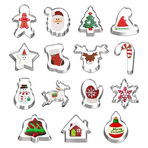 Hibery 15 Pcs Christmas Cookie Cutters, Holiday Cookie Cutters Including Snowflake, Snowman, Gingerbread, Christmas Tree, Gingerbread Cookie Cutter and More - PHUNUZ
