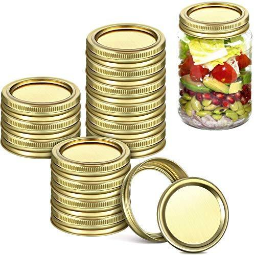 24 Pack Wide Mouth Canning Jar Lids and Rings for Mason Jars, Jar and Bands Leak Proof Storage Can Covers with Silicone Seals for Canning, Pickling, Freezing, Microwave and Dishwasher (Gold) - PHUNUZ
