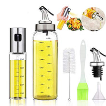 Load image into Gallery viewer, Oil Bottle Olive Oil Dispenser Oil Sprayer Set for Cooking 17OZ Lead-Free Glass Bottle for Oil Drip Free Spout Bottle Stainless Steel BBQ, Salad, Kitchen Baking, Roasting, Frying