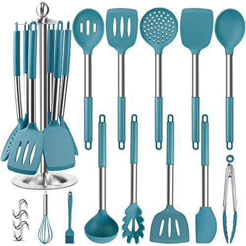 Silicone Kitchen Cooking Utensil Set, EAGMAK 14PCS Stainless Steel Silicone Kitchen Utensils Spatula Set with Stand for Nonstick Cookware, BPA Free Non-Toxic Silicone Cooking Utensils (Blue) - PHUNUZ